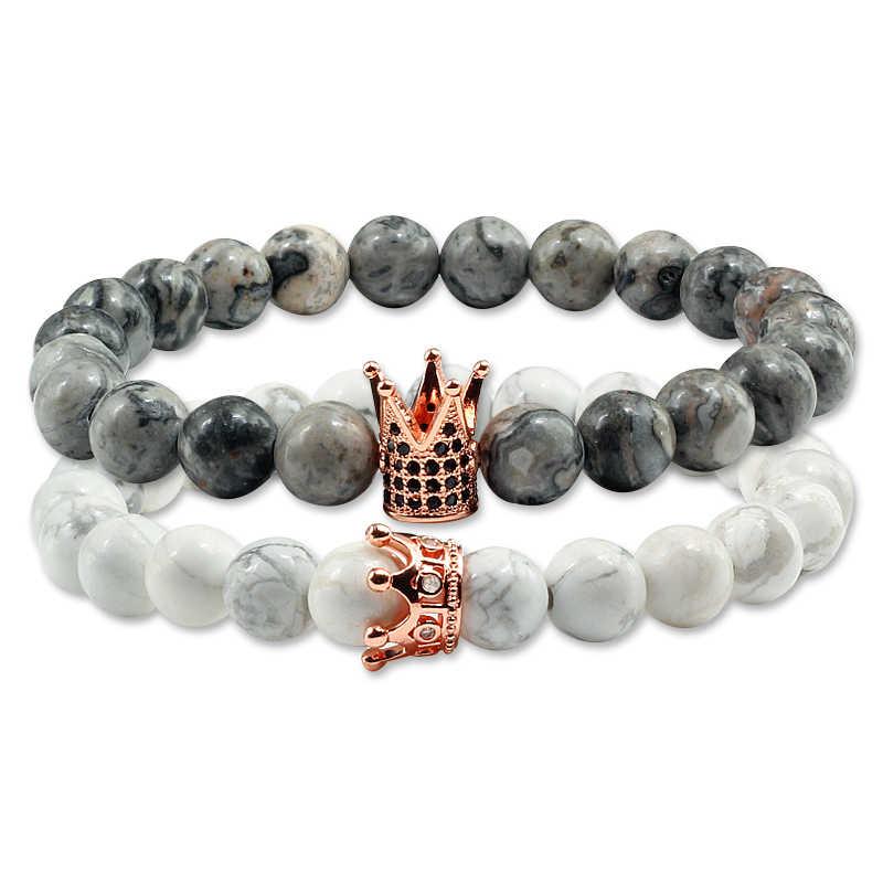 2 ชิ้น/เซ็ตสีขาวและสีดำคู่สร้อยข้อมือสำหรับคนรักของเขา King ของเธอ Queen Crown Hand โซ่ Tiger Charms Mens yinyang กำไลข้อมือ