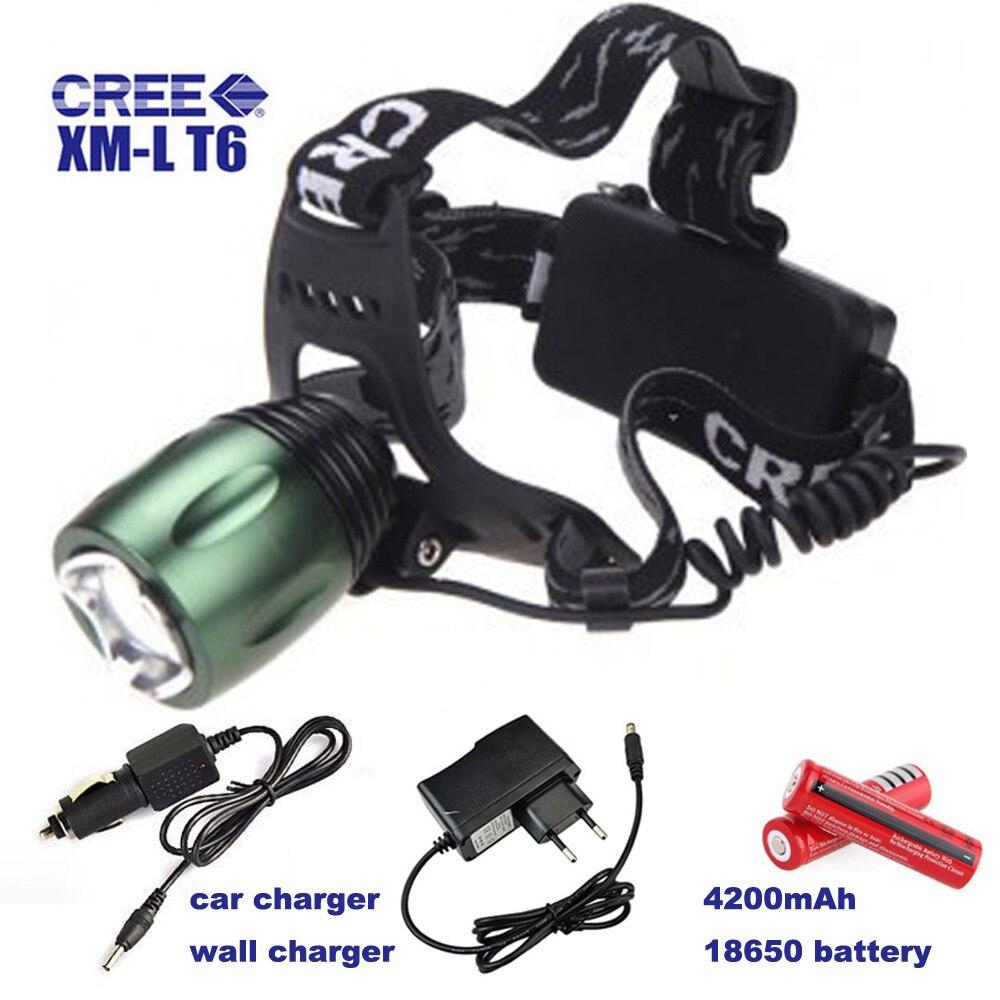 CREE XM-L T6 Head Torch 1800 Lumen Headlamp Farol LED Light Adjustable Focus Cap Lamp Camping LED Lantern With 18650 <font><b>Battery</b></font>