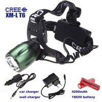CREE XM-L T6 Head Torch 1800 Lumen Đèn Pha Đèn Farol LED ánh sáng Điều Chỉnh Được Nắp Tập Trung Đèn Cắm Trại DẪN Lantern Với 18650 pin