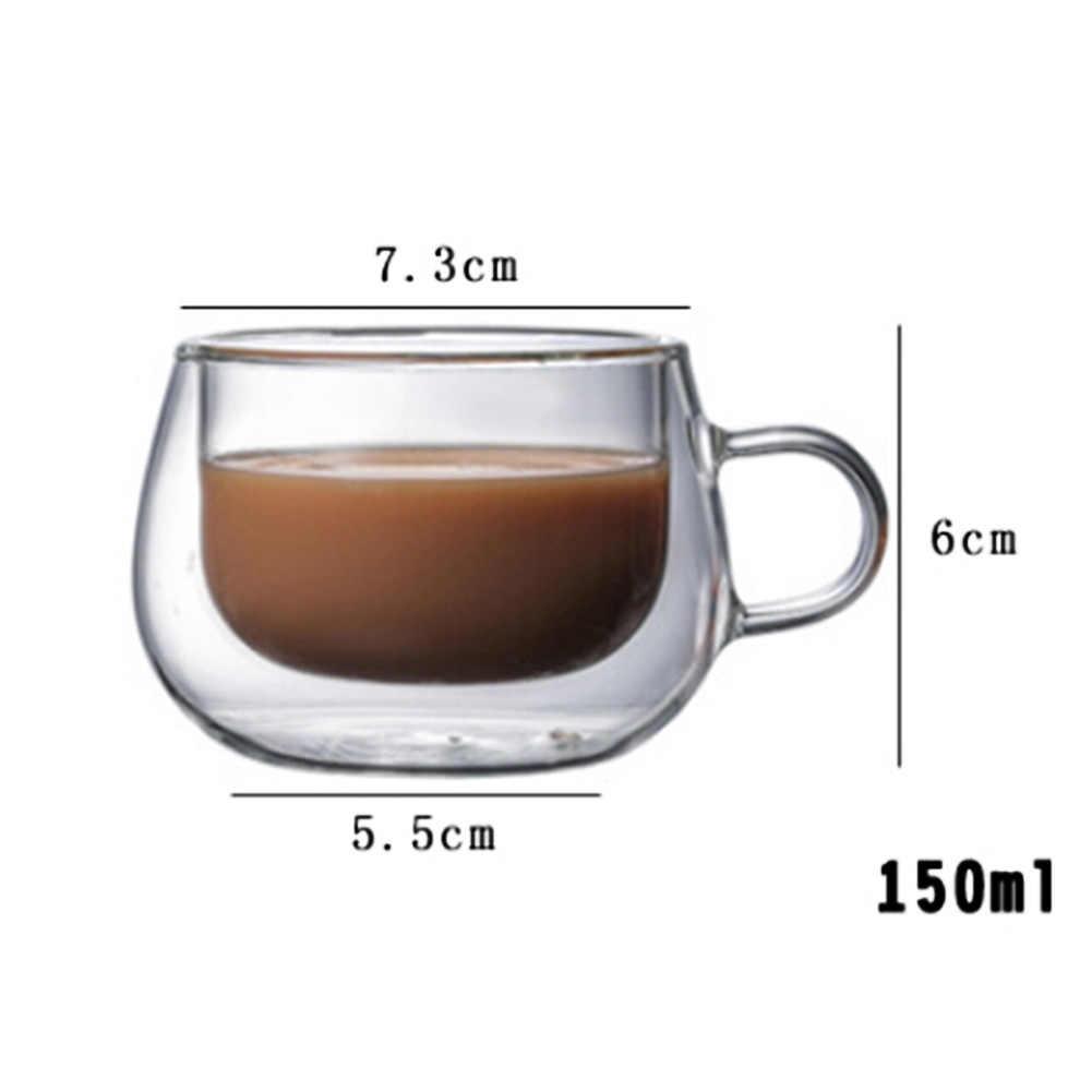 Nuovo 150ml Doppio strato Termico Tazza di Vetro Resistente Al Calore del Tè del Latte del Caffè Bere Isolamento Resistente Al Calore Tazza con maniglia Bere
