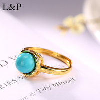 New Fashion Real 925 Silver Turquoise Ring For Women Elegant Natural GemStone Adjustable Ring Fine Jewelry Girls Ladies Gift