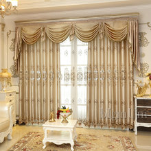 Embroidered Luxury Window Curtains For Living Room Bedrooms Hotel Customized khaki Curtains Tulle Home Furnishing Treatment