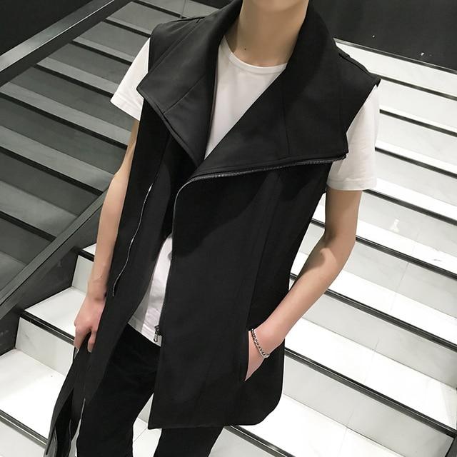 2017 new Men Cotton big collar vest coat men fashion casual top men Sleeveless waistcoat punk locomotive vest jacket K642