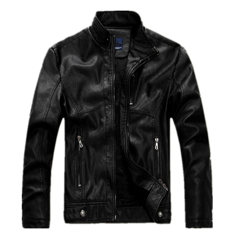 Men 's motorcycle leather jacket to do the old wind faded leather jacket collar plus velvet mens leather coats