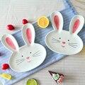 1 шт. 8-дюймовая керамическая тарелка  ужин с кроликами  животными  макаронные изделия  стейк  десертные тарелки  тонкие костяные тарелки  кит...