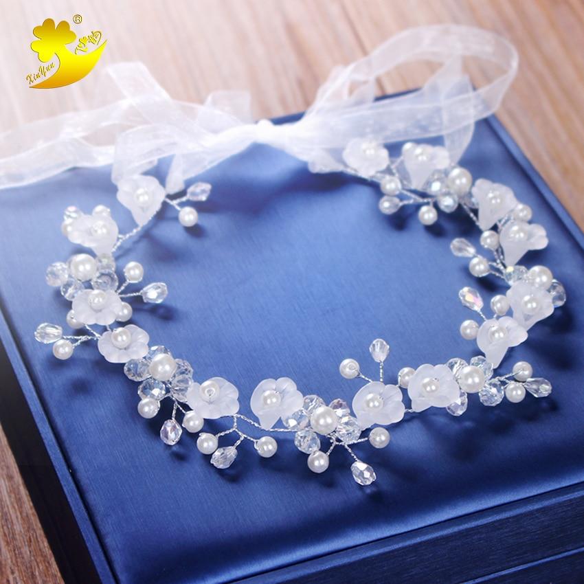 Xinyun New Flower Hair Jewelry Flower Girl Headband Crystal Rhinestone Hairband Bridal Women Wedding Hair Accessories Hair Crown
