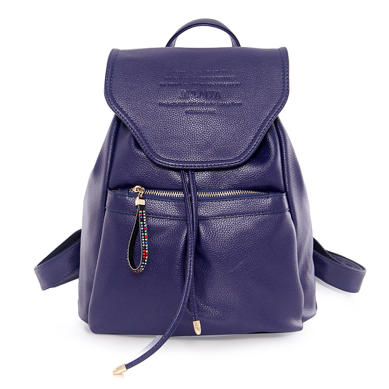ФОТО 2017 High Quality Fashion Lovely  Women  PU Leather Backpack School Bag Female Travel Bags Leisure Backpacks Casual STA8900 Blue
