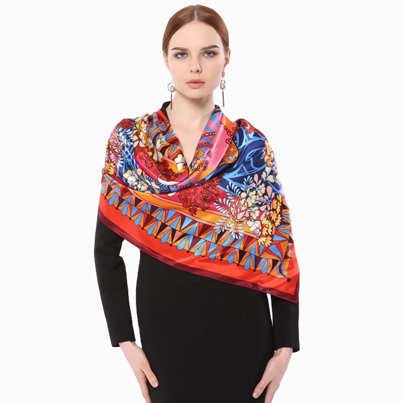2018 Large Size 100% Satin Silk Women Scarf Luxury Brand Original Design Floral Print Scarves Elegant 105*105cm Pashmina