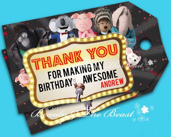 Customized Personalized Sing Thank You Favor Tags Sing Labels Tag Gift Favors Birthday Party Decorations Kids Party Supplies