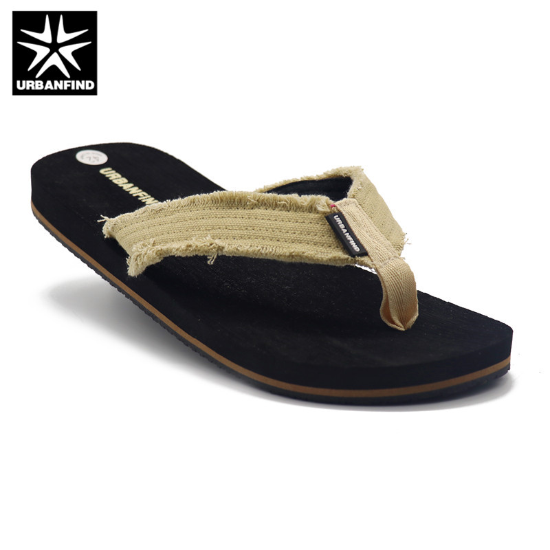 URBANFIND Canvas Band Man Casual Slippers Summer Shoes Size 41-46 Black / Brown Colors Man Fashion Flip Flops