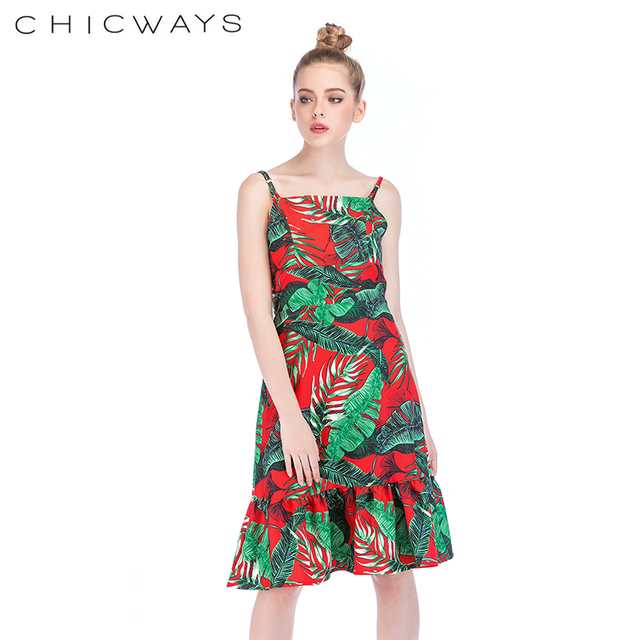 1430de0a3a Chicways Summer Tropical Palm Leaf Print Dress Casual Straps Sleeveless  Sexy Cami Dress Backless Bow Belt