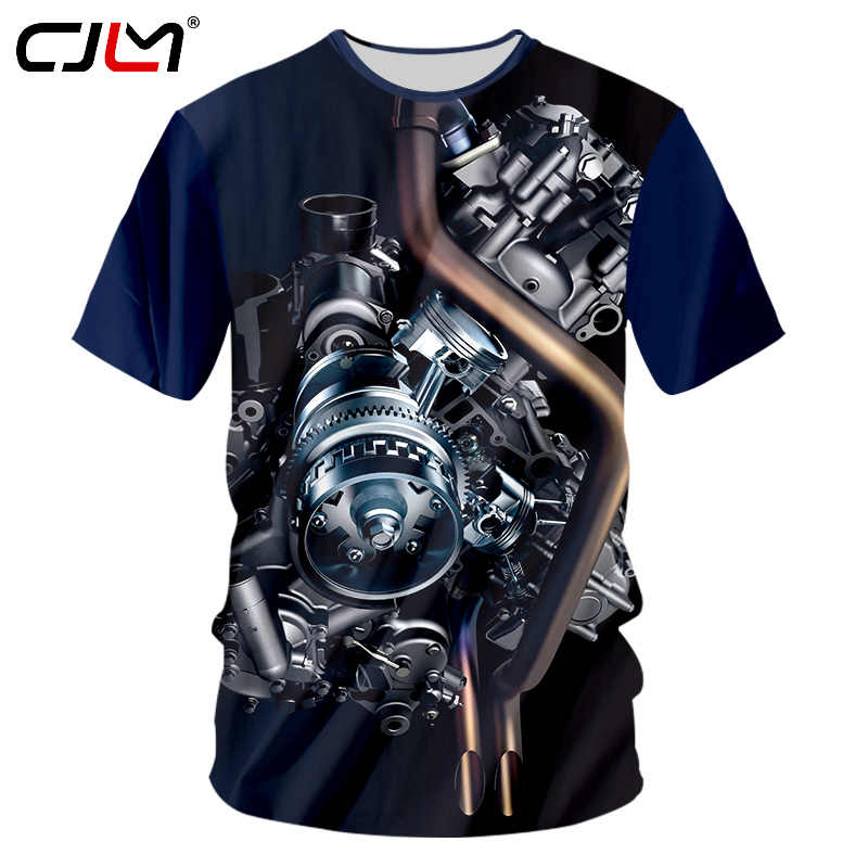 CJLM Nieuwe Collectie Mannen Casual Tshirts Cool Print Motor Heavy Metal 3d T-shirt Homme Hip Hop Streetwear Punk Stijl Tee shirt Unisex