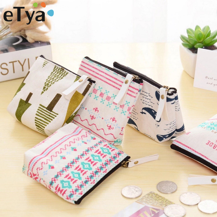 eTya 1PCS Women Casual Cartoon Cute Canvas Coin Purse Change Card Holder Bag Children Party Gift Pouch wallet bag Dropshipping cute butterfly student coin purse chinese style children canvas zip change mini purse women wallet animal key card bag kids gift