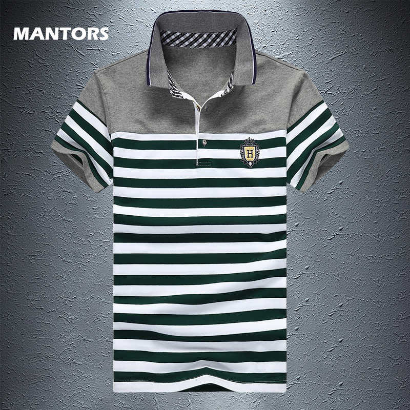 Summer Cotton Striped Men Polo Shirt Fashion Casual Short Sleeve Polo Man Clothing Slim Polo Shirt Tops Streetwear Print Shirts
