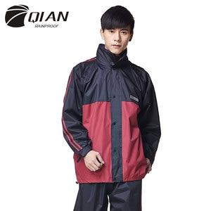 Image 2 - QIAN RAINPROOF Professionalผู้ใหญ่กลางแจ้งRainsuitซ่อนRainhatแฟชั่นMulti Functionalหนาเสื้อกันฝนคุณภาพสูง