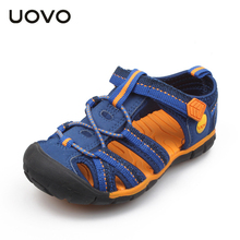 UOVO Fabric Summer Boy Sandals Toe Wrap Sandal Kids Shoes Sashion Beach Sport Nonslip Boys Sandals Anticollision 6-10 Years Old
