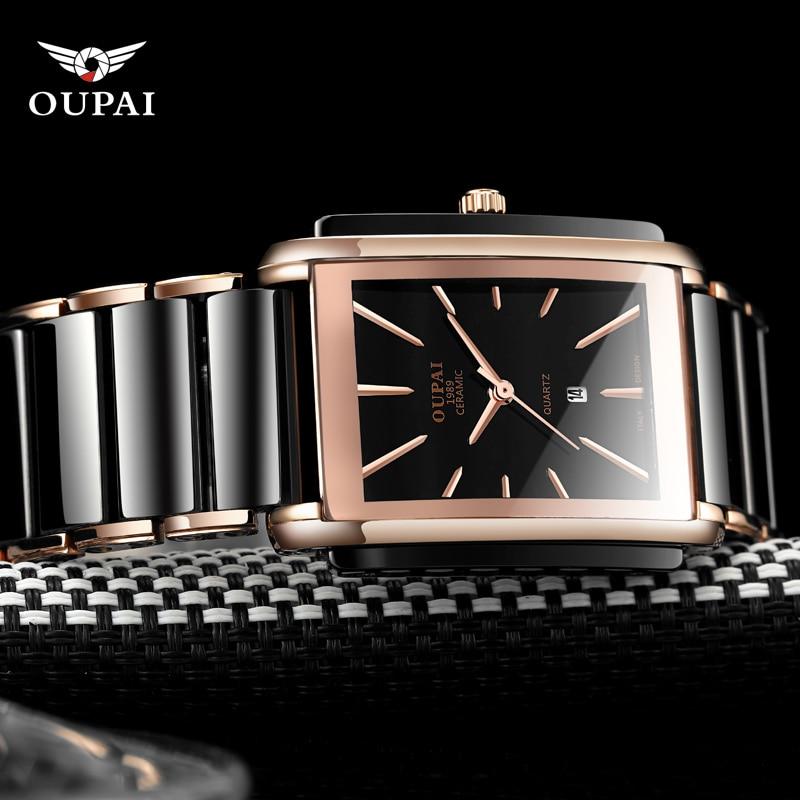 OUPAI Men Top Luxury Brand Casual Stainless steel Rectangle Classic Black Ceramic Men Sports Waterproof square Quartz Watch|Quartz Watches| |  - title=