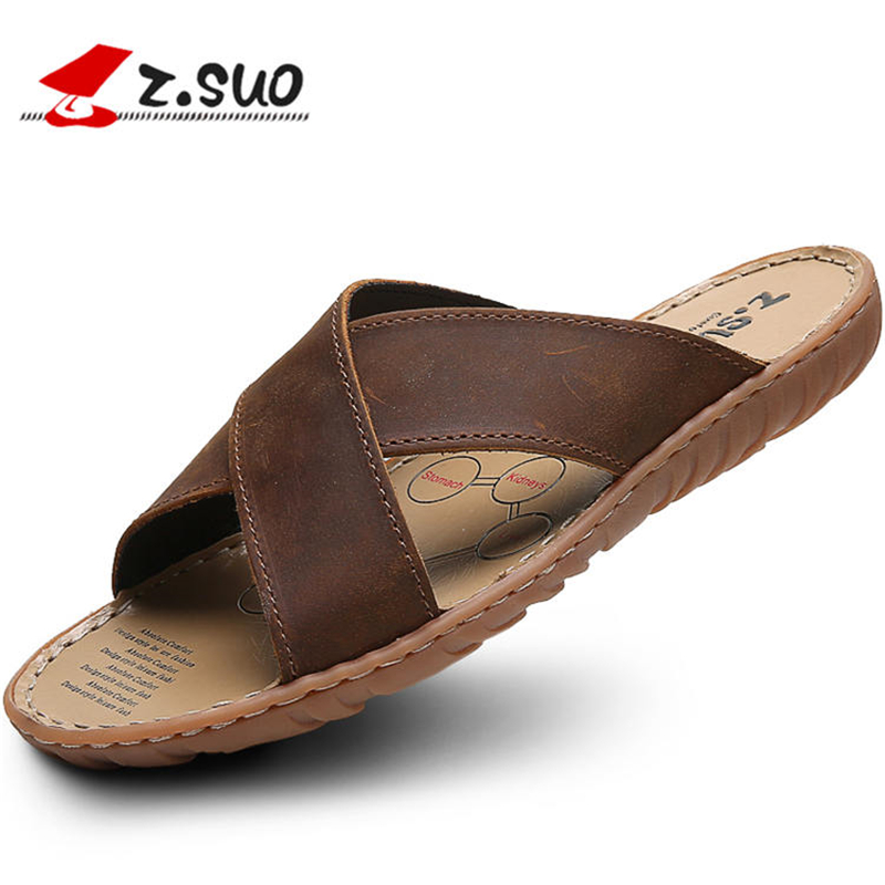 4f88e956fe5c8c Z. Suo 2017 Men Slippers Summer Sandals Casual Men Beach Shoes Designer  Sandals Men Flip Flops Sandalias Hombre Chausson Homme