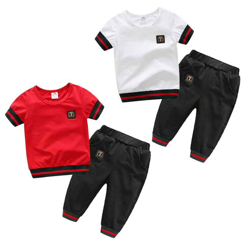 Baby boy s casual suit 2017 summer new children clothing two piece short sleeved pants shorts
