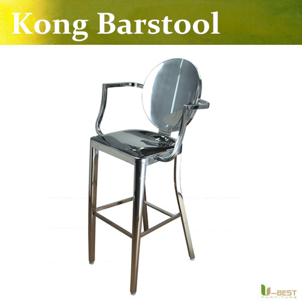 Free shipping U-BEST Kong Barstool with Arms,Kong Side Stool by Philippe Starck, ghost bar stool stainless steel bar chair
