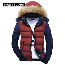 Manvelous Hooded Winter Jacket Men European Style Casual Slim Stand Collar Patchwork Thick 4XL Mens Winter Jackets Parkas Coats