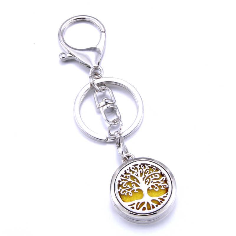 รูปแบบ Tree น้ำมันหอมระเหยพวงกุญแจสแตนเลส Diffuser น้ำหอมพวงกุญแจ Aroma Diffuser เครื่องประดับเหมาะสำหรับรถ