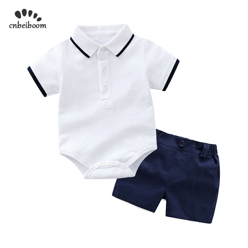 Baby boy   rompers   short clothing sets 2019 new polo T shirt + shorts white black color for infant newborn kids birthday clothes