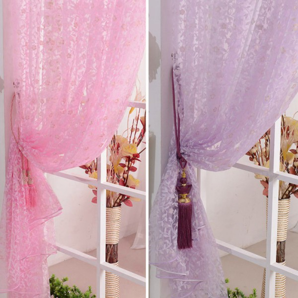 Window Curtains Home Decor Leaves Voile Drapes For Living Room Divider Sheer Scarfs Valance Tulle Curtains