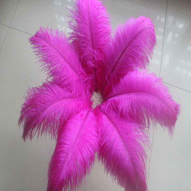 Alta calidad al por mayor 10 piezas hermosas 20-25 cm/8-10 pulgadas Rosa plumas de avestruz natural DIY decoraciones de la boda