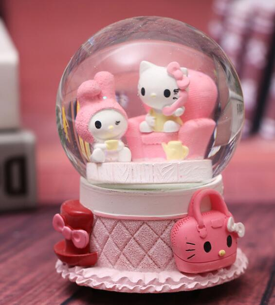 Choice 1PC Creative student gift with lamp snowflake crystal ball music box pink couple KT cat spin water ball gift statue home