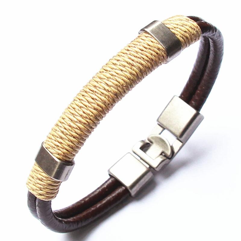 2018 Genuine Leather Bracelet Men's Bangle Fashion Retro Punk Charm Jewelry For Women Hand Woven Bracelet For Male Accessories