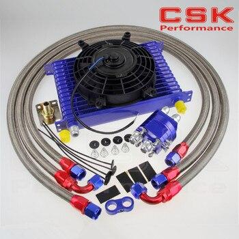 15 ряд 10AN Универсальный Масляный радиатор для передачи двигателя + набор адаптеров для перемещения + 7