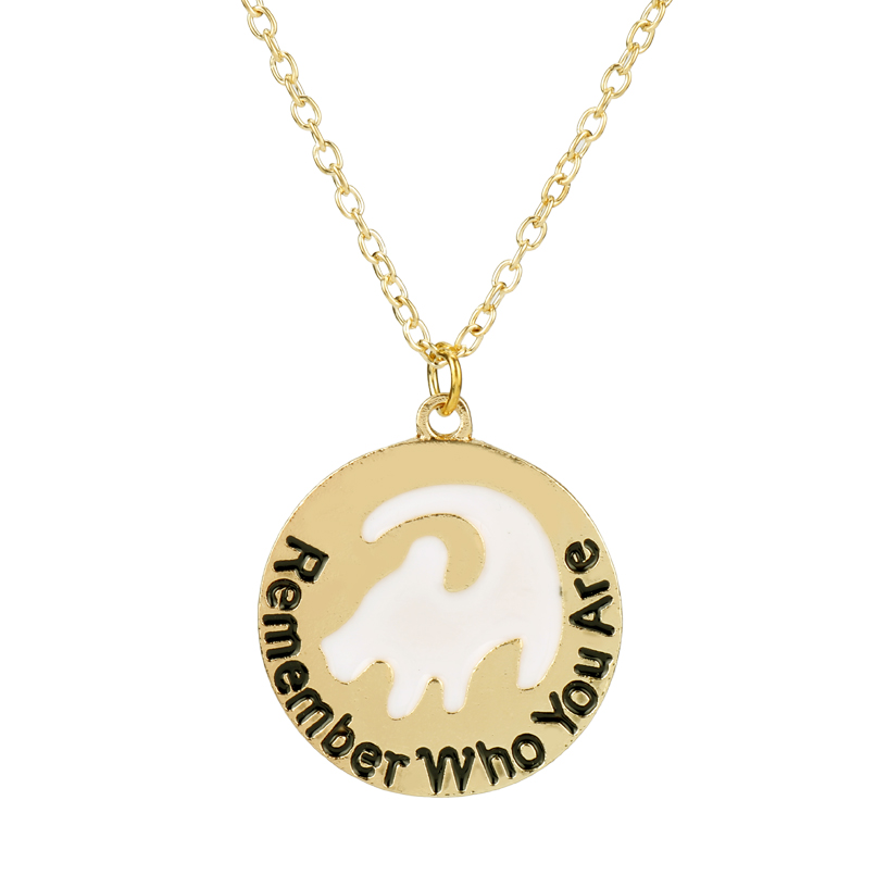 The Lion King Charm Cartoon Movie Jewelry Remember Who You Are Necklace Animal Letter Round Pendant Women Fans Gift Choker in Pendant Necklaces from Jewelry Accessories