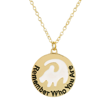 The Lion King Charm Cartoon Movie Jewelry Remember Who You Are Necklace Animal Letter Round Pendant Women Fans Gift Choker