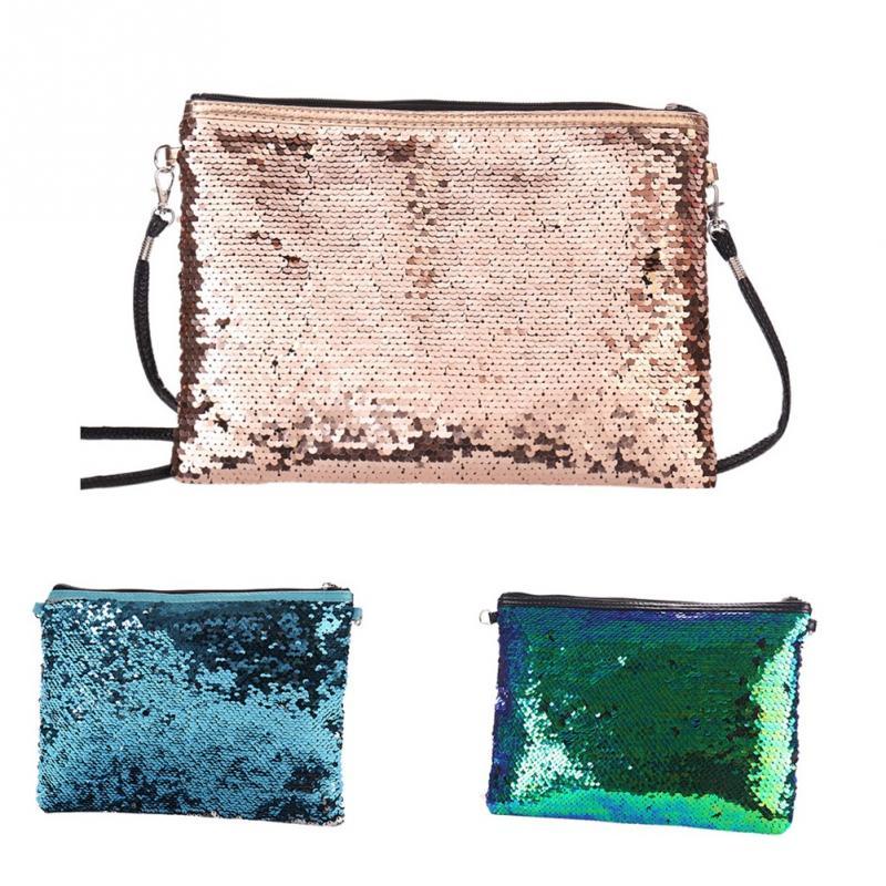 Women Mermaid Sequins Crossbody Bags Large Capacity Glitter Cosmetic Messenger  Handbag Ladies Bling Bling Jewelry Packaging bd3809e0bf6f