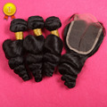 7A Grade Peruvian Virgin Hair With Closure 3 Hair Bundles With Lace Closures 8-30'' Peruvian Loose Wave Hair Weft With Closure