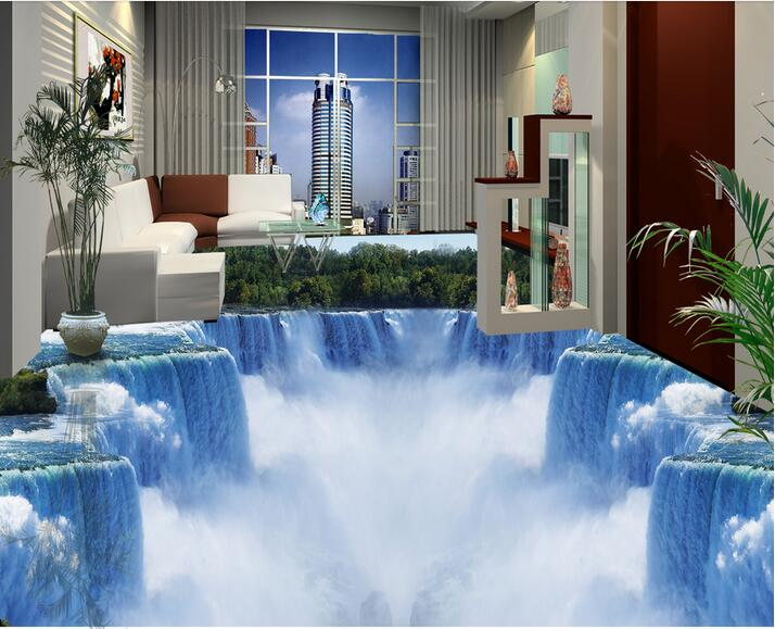 3d flooring wallpaper custom photo self-adhesion material 3 d Mountain forest waterfall painting 3d wall room murals wallpaper free shipping flooring cliff forest bathroom kitchen walkway 3d flooring custom living room self adhesive photo wallpaper