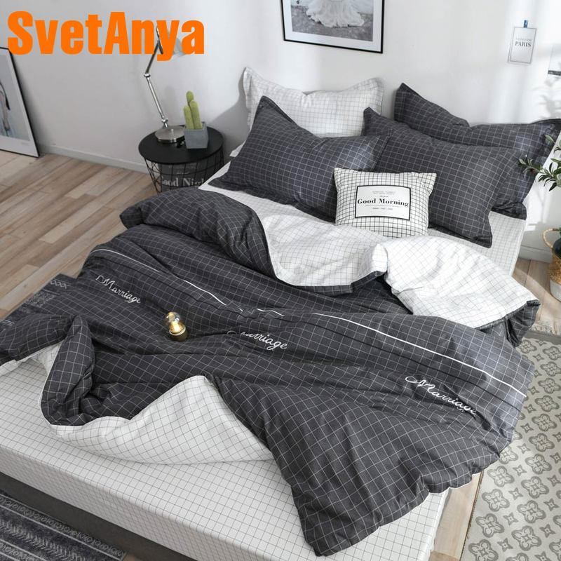 Svetanya 2019 gray and white Bedlinen 100 Cotton Bedding Set (sheet pillowcase Duvet cover) Single Double size