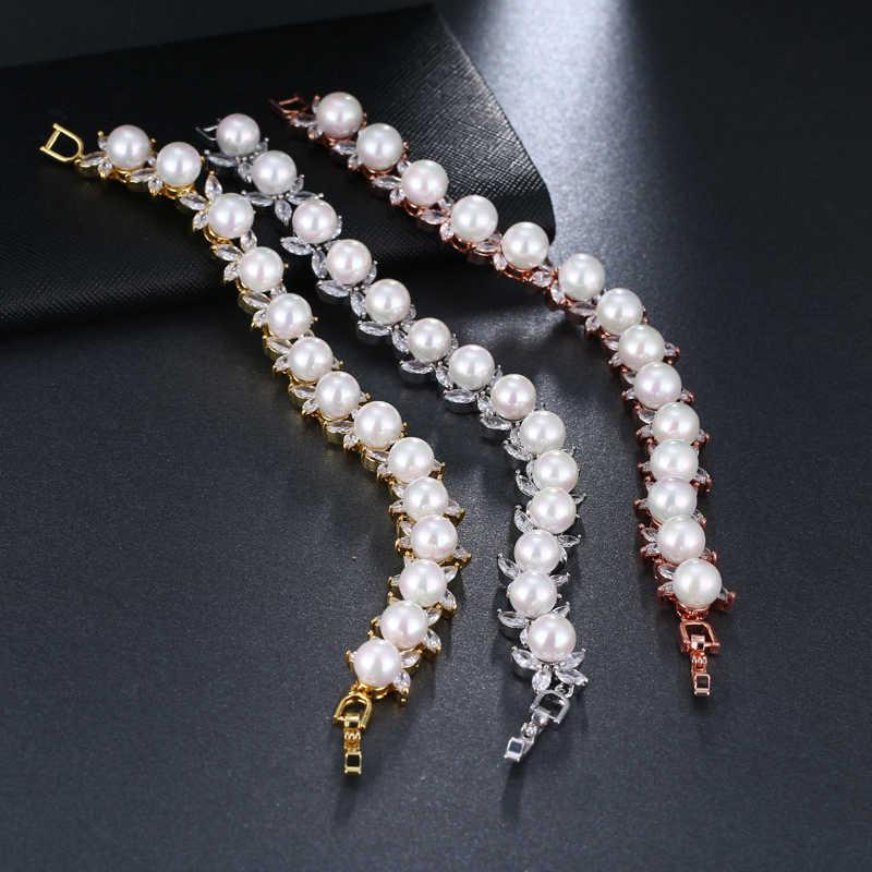 EMMAYA Round Imitation Pearl Unique AAA CZ Bracelet Sets For Women Elegant Jewelry Friendship Bracelets