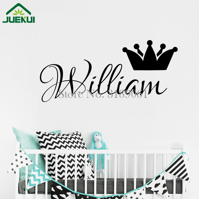 New Design Custom Boys Girls Name With Crown Wall Decals DIY Vinyl - Custom vinyl wall decals diy