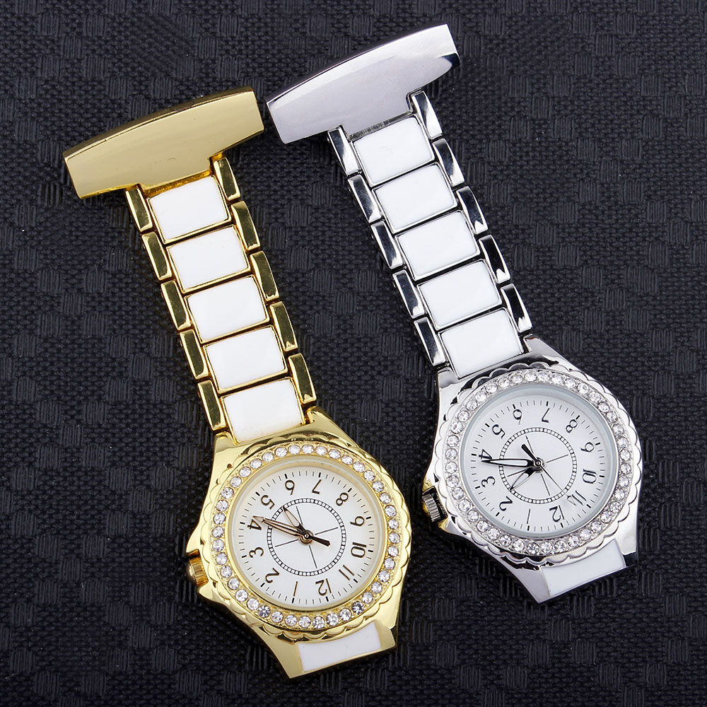 Luxury Crystal Gold Silver FOB Pocket Watch Women Analog Clip-on Hanging Brooch Elegant Ladies Quartz Fashion Nurse Watches
