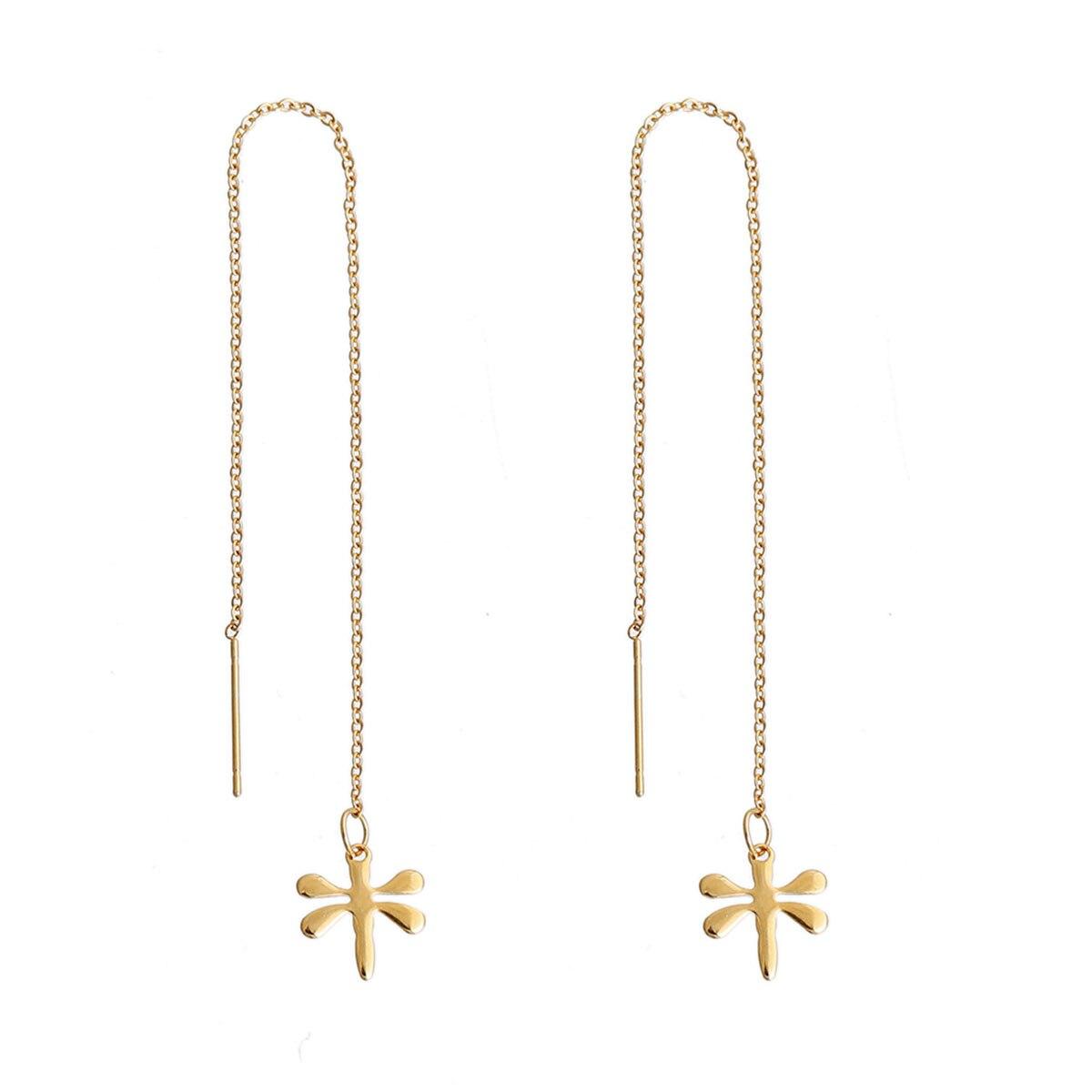 Doreen Box Stainless Steel Ear Thread Threader Earring Gold Color Dragonfly  Animal 142cm(5