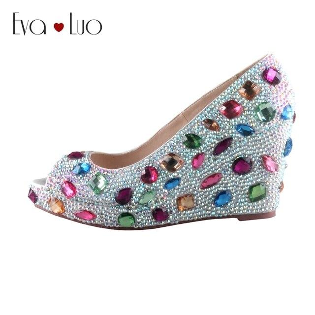 CHS663 Custom Handmade Peep Toe Wedge Heel Crystal Bridal Wedding Shoes Women Dress Pumps DHL