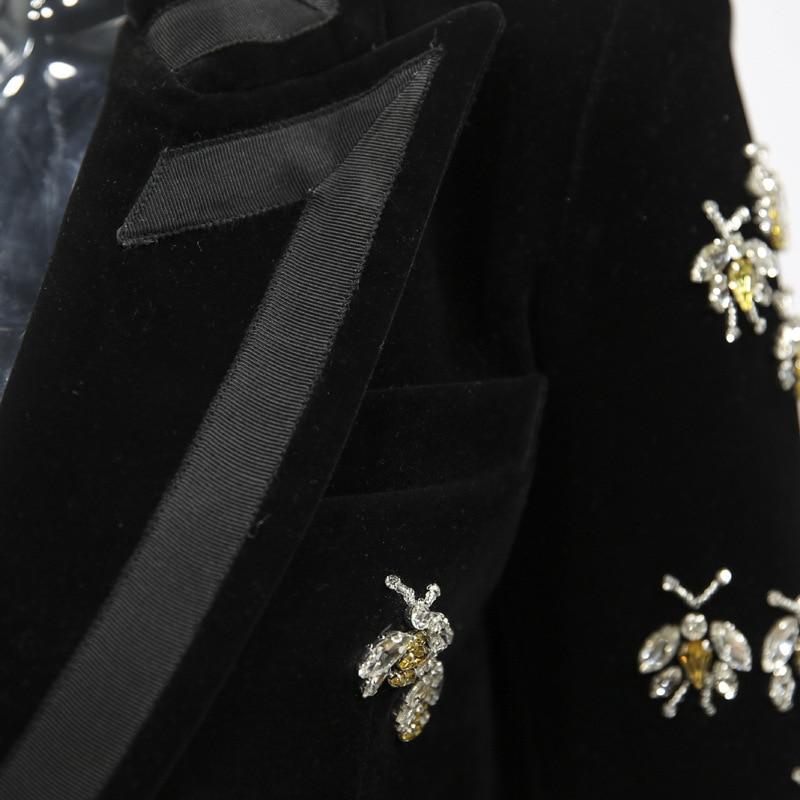 Gold Velvet Blazer Woman Spring Autumn 2019 New Animal Beading  Casual Long Sleeve Blazer Office Elegant Black Long Blazer Women
