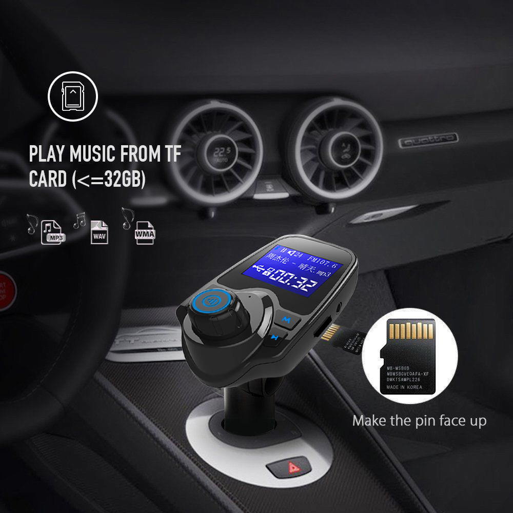 Car Mp3 Player Auto Hands Free Wireless Car AUX Audio Receiver FM Adapter USB Charger 1.44 Inches LargeScreen Dual USB port-in FM Transmitters from Automobiles & Motorcycles