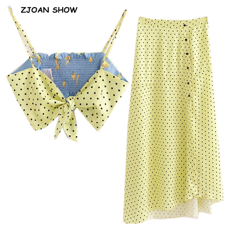 2019 Bow Tide Strap Polka Dot  Bra Tank Top Crop Top Sexy Women Front Split Maxi Long Skirt 2 Side Wear Camis Tops 2 Pieces Set