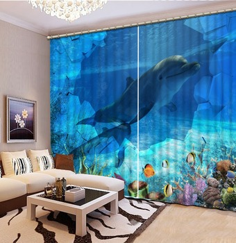 beach curtains 3D Curtain Printing Blockout Polyester Chinese Sun Photo Drapes Fabric For Room Bedroom Window