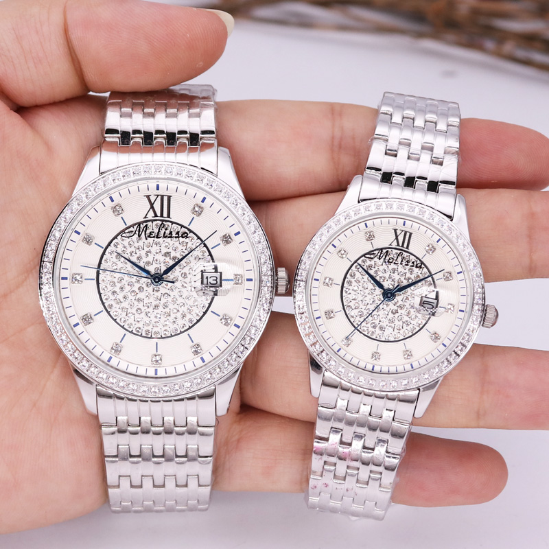 Auto Date Men's Watch Women's Watch Japan Mov Fashion Rhinestone Luxury Couple Clock Crystal Lovers' Watch Gift Melissa Box