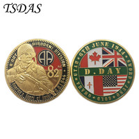 40*3mm America's Guard of Honor Army Gold Plated Coin D Day Metal Coins With Plastic Case For Home Decor and Gifts