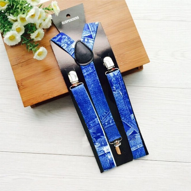 Unisex Suspenders Women Blue imitation Denim Printed Braces Y-back 3 Clip-on Elastic Suspender Mens Belts Strap Bretelles Hommes